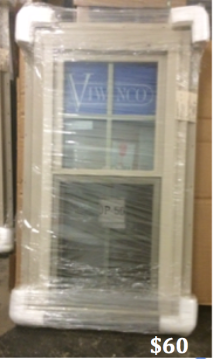 "Viwinco NCSH Signature Series, Tan Single Hung Window, Width- 24"" Height-48"", Internal Tan Grids"